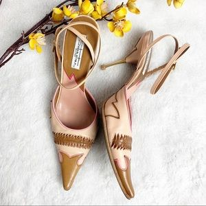 SEBASTIAN MILANO | 6.5 Pointed Toe Gold Heels 36.5